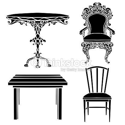 Vintage furniture set chair armchair wooden table vector - Sillones estilo vintage ...