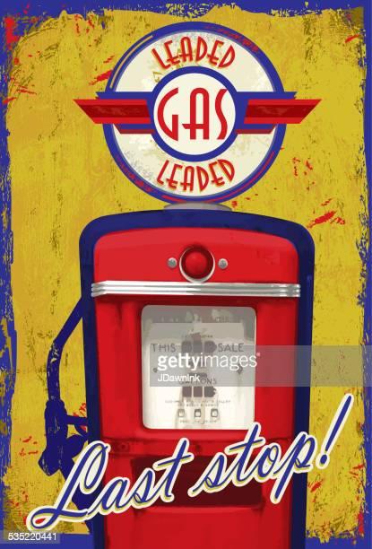 Pompe à essence Vintage signalisation DERNIÈRE ÉTAPE ! Jaune bleu âgés de fond