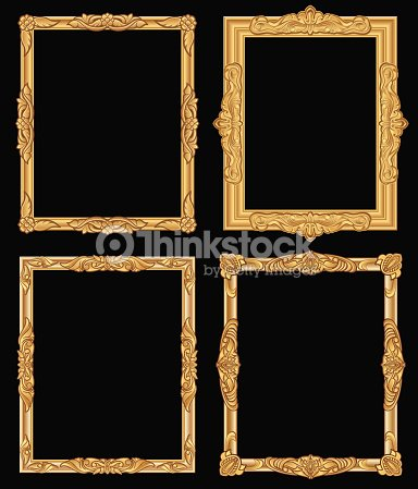 bfd99f5fb8e Vintage gold ornate square frames isolated. Retro shiny luxury golden  vector borders