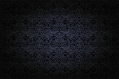 vintage Gothic background in dark grey and black with classic Baroque pattern, Rococo with darkened edges