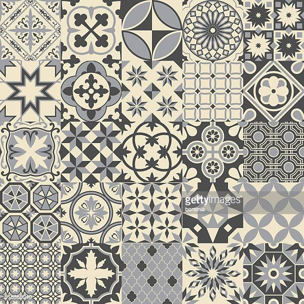 Vintage Gray Mosaic Porcelain Tiles Seamless Pattern