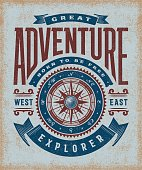 Vintage great adventure typography, t-shirt and label graphics with compass rose. Editable EPS10 vector illustration in woodcut style.