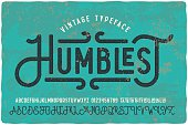 Vintage grunge font with dirty noise texture. Old letters on rusted background.