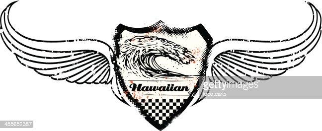 vintage grunge surf shield with big pipeline wave vector art