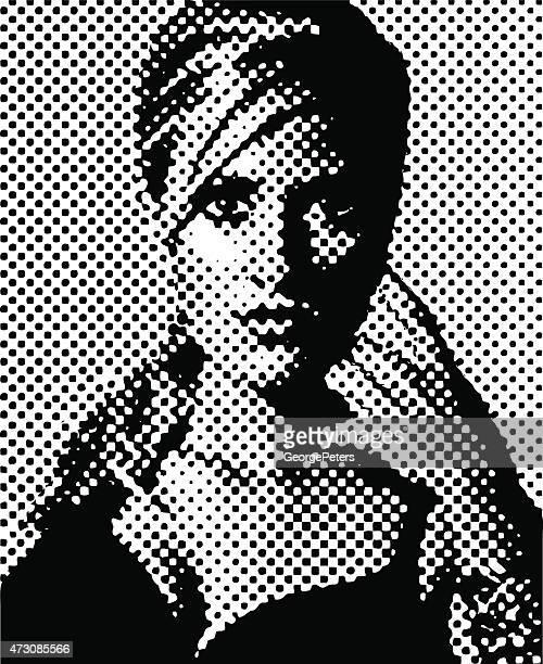 Vintage Halftone Pattern Portrait of a Woman