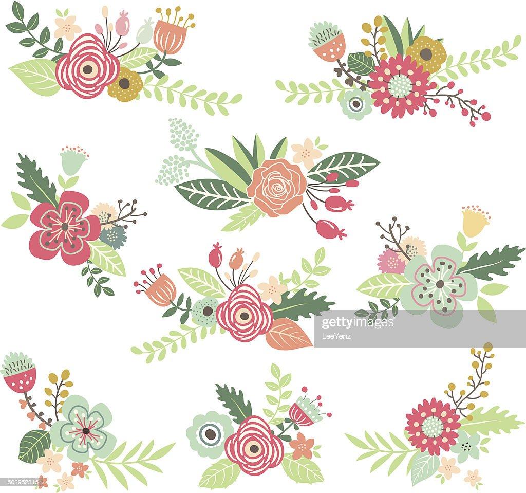 Vintage Hand Drawn Floral Set - Illustration