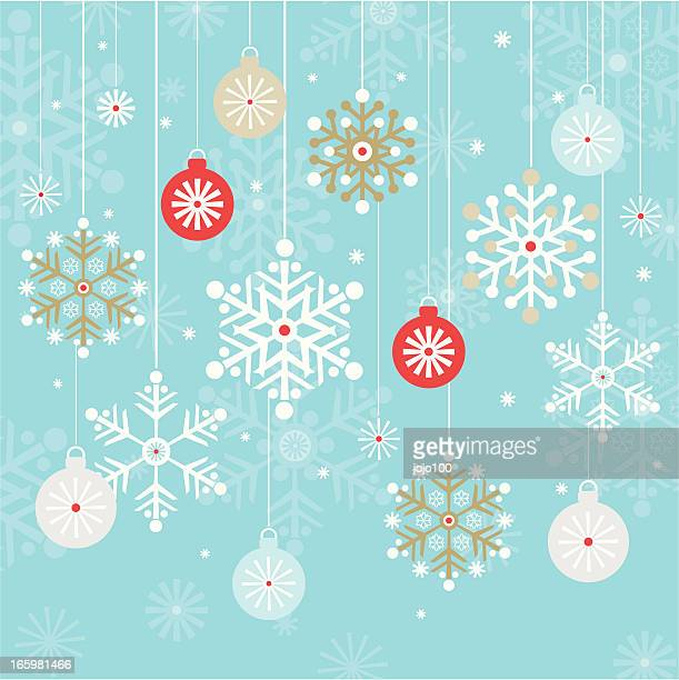 Vintage Hanging Christmas Baubles and Snowflakes Background