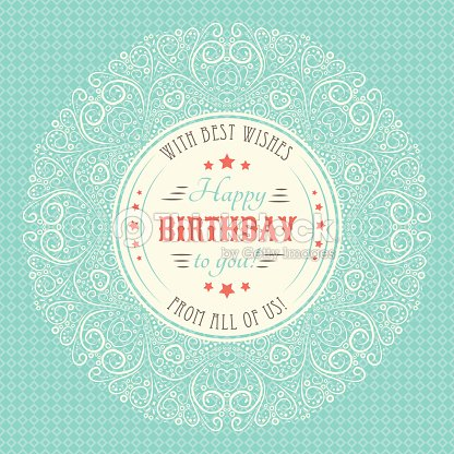 Vintage Happy Birthday Card Typography Letters Font Type Vector – Vintage Happy Birthday Cards