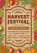 Vintage harvest festival poster in woodcut style. Editable EPS10 vector illustration with clipping mask and transparency. Includes high resolution JPG.