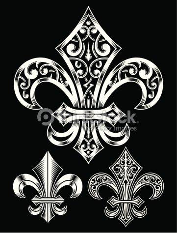 vintage heraldry fleur de lis set vector art thinkstock. Black Bedroom Furniture Sets. Home Design Ideas