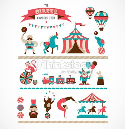 Vintage Huge Circus Collection With Carnival Funfair Vector Icons Background Art