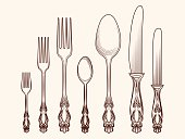 Hand drawn cutlery sketch vector illustration. Vintage kitchen objects design