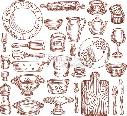 Vintage kitchen elements vector art thinkstock for Utensilios de cocina vintage