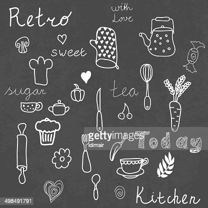 Vintage Kitchen Set On Chalkboard Design Elements Vector Art Getty Images