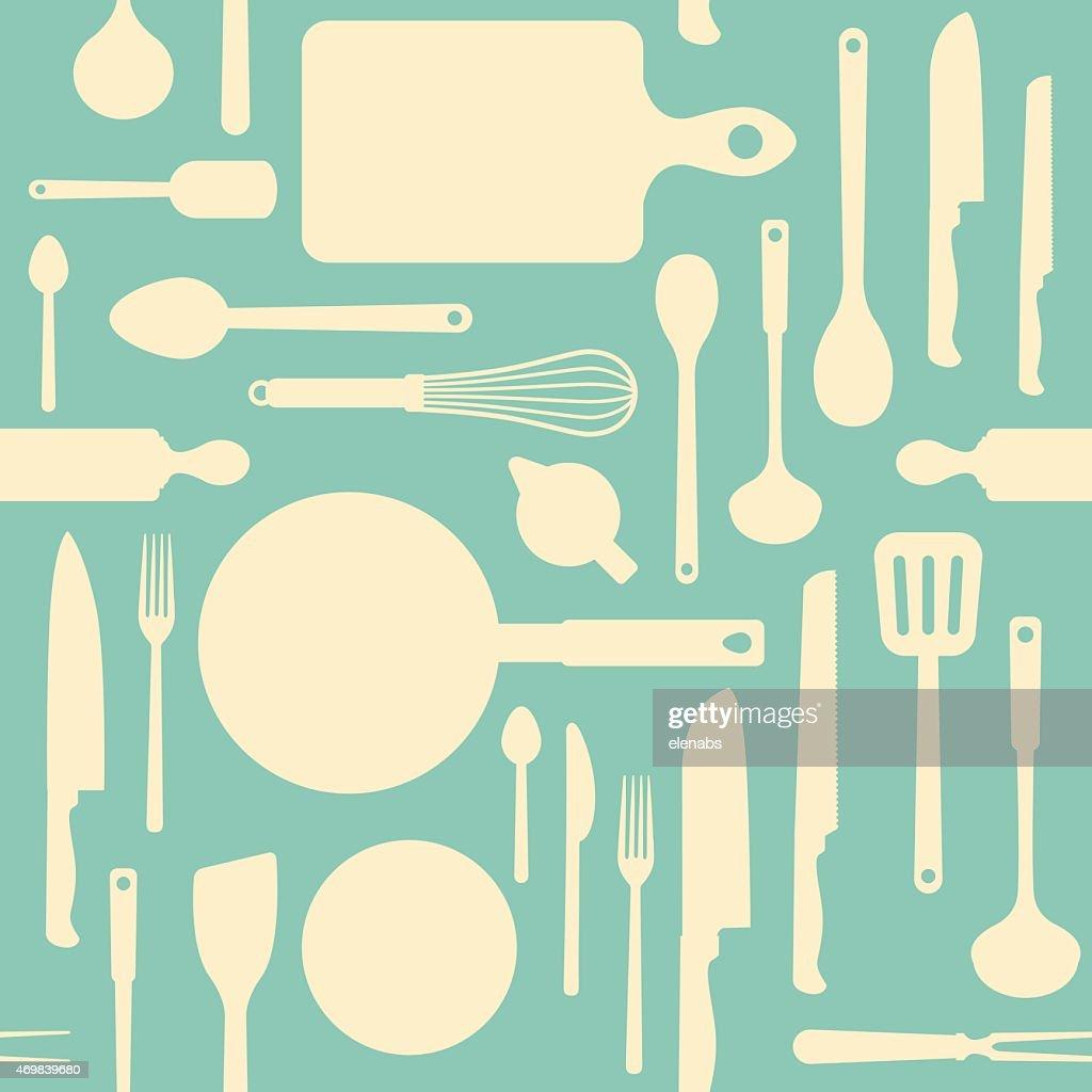 Vintage Kitchen Tools Pattern : Vector Art