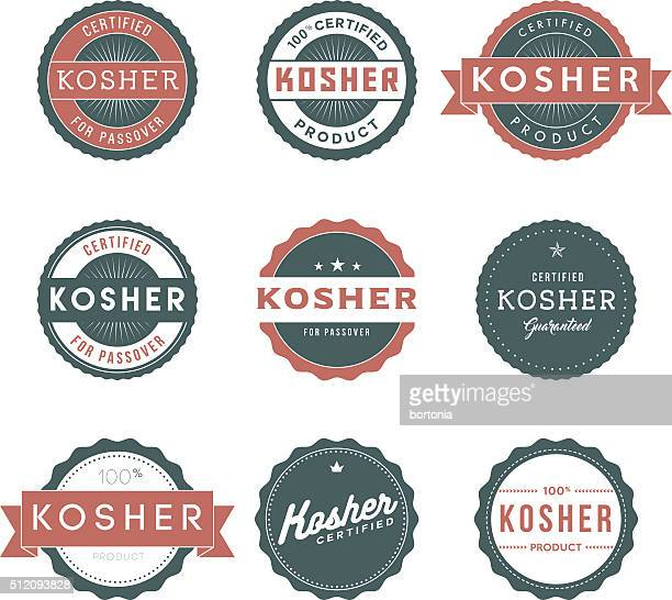 Vintage Kosher Food Labels Icon Set