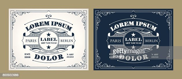 Vintage label design set with an example of your text : Vector Art