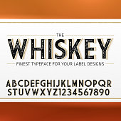 Vintage Label Font with decorative shadow. Retro whiskey fine label alphabet with decorative elements
