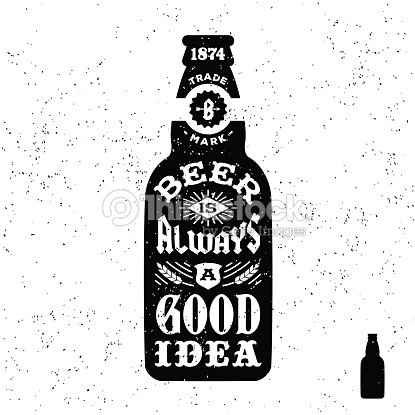 Vintage Label With Beer Bottle Vector Art