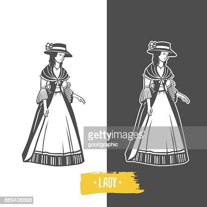 Vintage ladies illustration. : stock vector