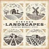 A set of landscapes in retro woodcut style. Editable EPS10 vector illustration with clipping mask and transparency. Includes high resolution JPG.