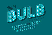 Vintage light bulb font design, Broadway style alphabet letters and numbers vector illustration