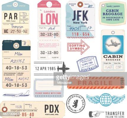 Vintage sellos y etiquetas de equipaje : Arte vectorial