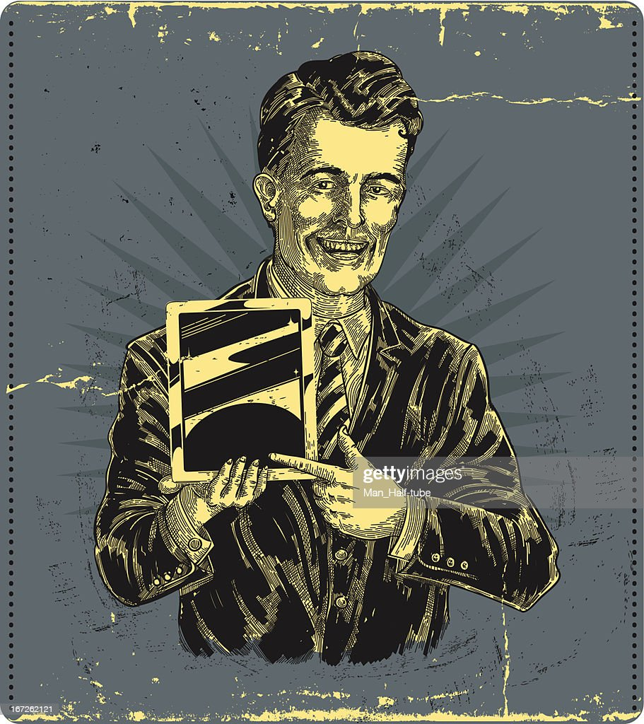 vintage man, holding tablet device : Vector Art