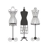 Vintage Mannequin or Dummies Black Silhouette For Sewing Women Fashion Clothes Flat Design Style. Vector illustration