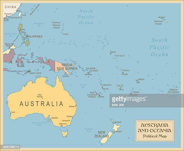Vintage carte de l'Australie et Océanie