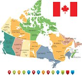 Vector Vintage Map of Canada with borders, cities and national flag.All elements are separated in editable layers