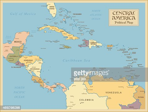 A Vintage Map Of Central America Vector Art Getty Images - Maps of central america