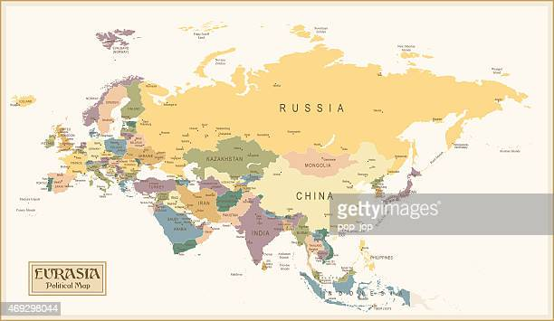 Vintage map of Eurasia before the continental split