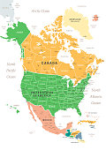 North America Map with vintage colours, borders, sea and oceans