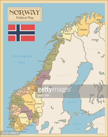 A Cartoon Illustration Of A Norway Map Vector Art Getty Images - Norway map cartoon