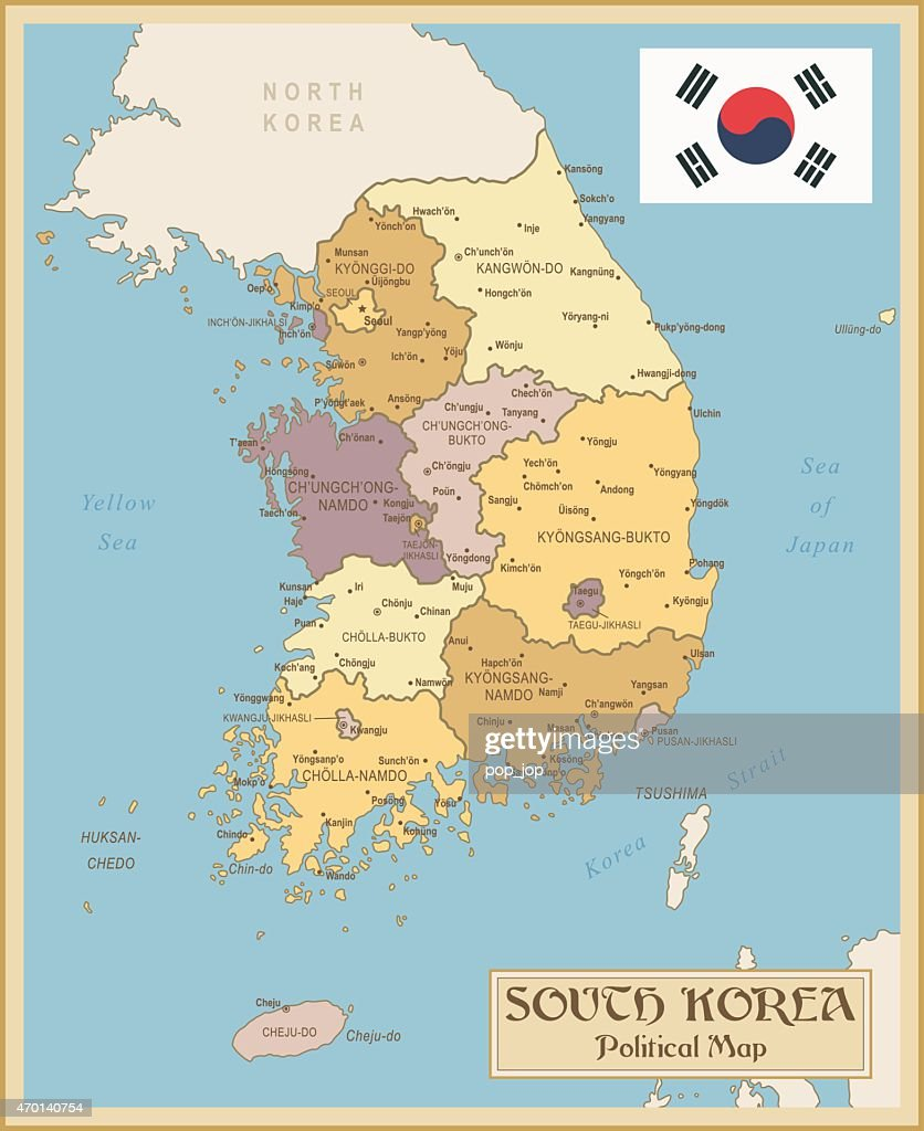 Vintage Map Of South Korea Vector Art Getty Images - Map of korea