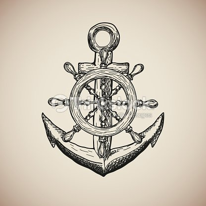 Vintage Marine Anchor With Steering Wheel Isolated Engrave Vector