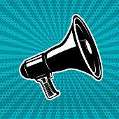 Vintage megaphone on pop art style background. Design element for poster, emblem, flyer. Vector illustration