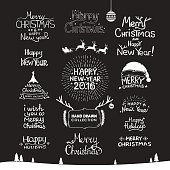 Vintage Merry Christmas And Happy New Year Calligraphic And Typographic Background. Hand drawing