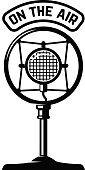 Vintage microphone icon on white background. Design element for label, emblem, sign. Vector illustration