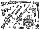 Vintage military elements monochrome set with soldier skull in modern helmet sniper rifles silencers handguns carbine bullets isolated vector illustration