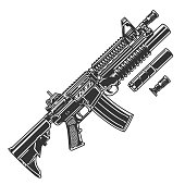 Vintage modern automatic assault rifle template with silencer and grenade launcher attached to rifle isolated vector illustration