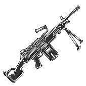 Vintage modern automatic rifle concept in monochrome style isolated vector illustration