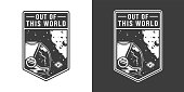 Vintage monochrome cosmic label with astronaut in outer space isolated vector illustration
