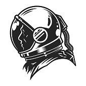 Vintage monochrome cosmonaut profile view template in space suit isolated vector illustration