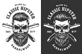 Vintage monochrome hipster skull label with crossed razor blades isolated vector illustration