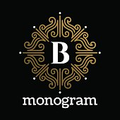 Vintage monogram frame template flourishes calligraphic elegant ornament lines. Business sign, identity for Restaurant, Royalty, Boutique, Hotel, Heraldic, Jewelry, Fashion and other illustration