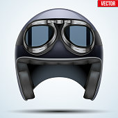 Vintage motorcycle classic helmet with goggles. Black color. Transportation industry. Vector illustration isolated on background,