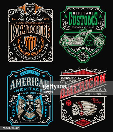 Vintage motorcycle t-shirt graphic set : Clipart vectoriel
