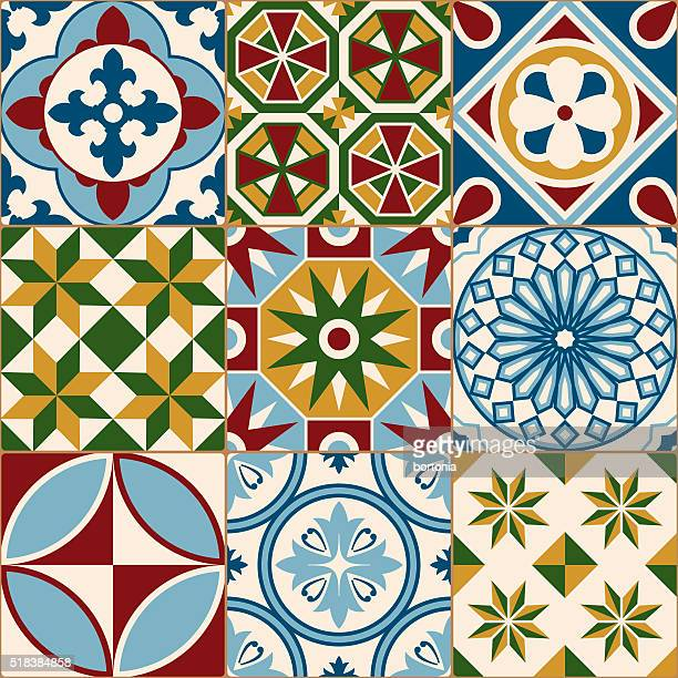 Vintage Multicolored Mosaic Porcelain Tiles Seamless Pattern